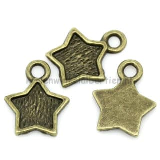 Ster bedels brons nikkelvrij 12mm bedelarmbandje zelf maken