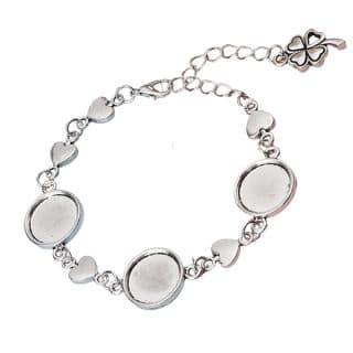 Armband metaal zilver cabochons setting hartjes zilver klavertje 4 verstelbaar