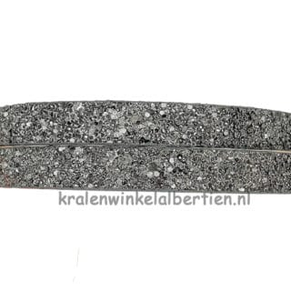 Leren sieraden koord 1cm breed glitters donkergrijs