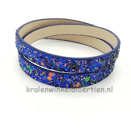 Imitatie leren koord sieraden maken glitter kobalt blauw