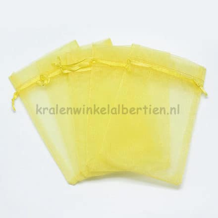 Organza zakje geel 9cm groot kado verpakking