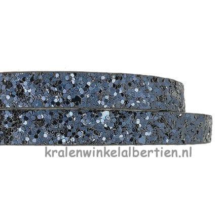 Faux leren koord sieraden maken donkerblauw glitter 10mm