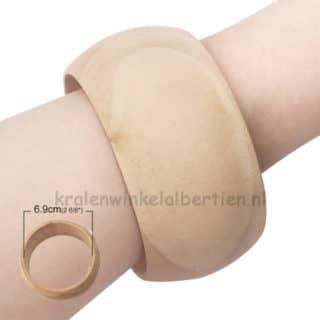 Armbanden hout blank niet gelakt breed