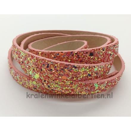 Roze glitter leren koord faux 1cm breed armbandjes maken