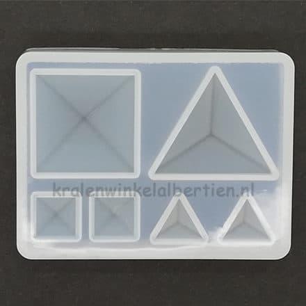 Flexibele transparant mal vierkantjes driekhoekjes siliconen mal