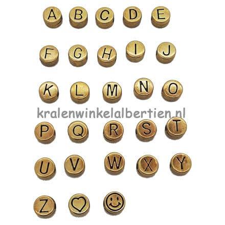 Alfabet kralen metaal antiek bronzen dq 7mm rond