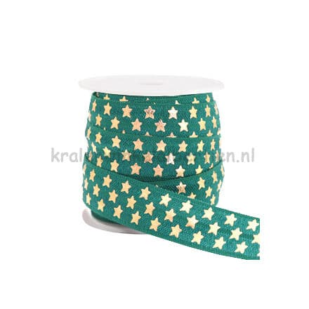 Sieraden elastiek groen gouden sterren print 15mm breed ibiza