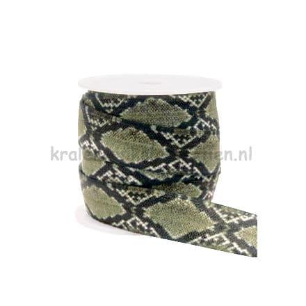 Sieraden elastiek lint ibiza style armband zelf maken slang print 15mm groen zwart