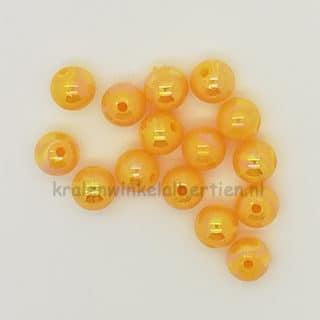 Ronde kralen donker geel ab kleur olie glans 8mm