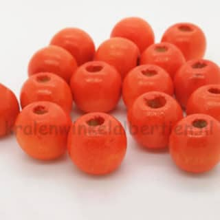 Kraal hout oranje 10mm groot rijggat