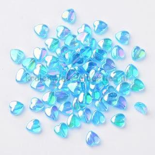 Blauwe kraal hartje 8mm ab kleur glans geluksengeltjes zelf maken DIY