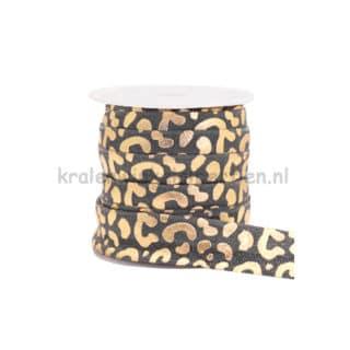 Luipaarden print elastiek lint 1.5cm breed goud grijs tijgerprint panterprint