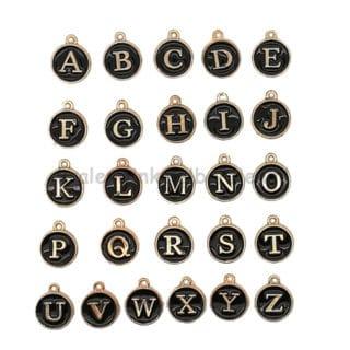 Letterkralen bedels zwart goud alle letters alfabet rond 12mm