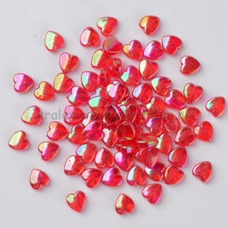 Hartje rood transparant ab olie glans 8mm geluksengeltje zelf maken
