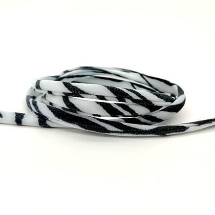 Rond gestikt elastiek koord 5mm zwart wit zebra