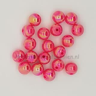 Ronde kraal roze ab glans kunststof sieraden maken DIY 8mm groot