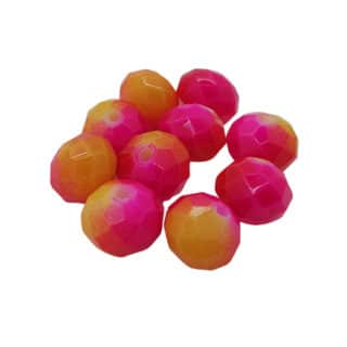 Glaskraaltjes 8mm facet roze oranje geel