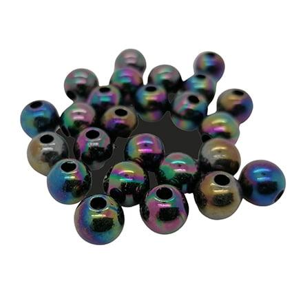 Olie glans kraal zwart ab rond 8mm