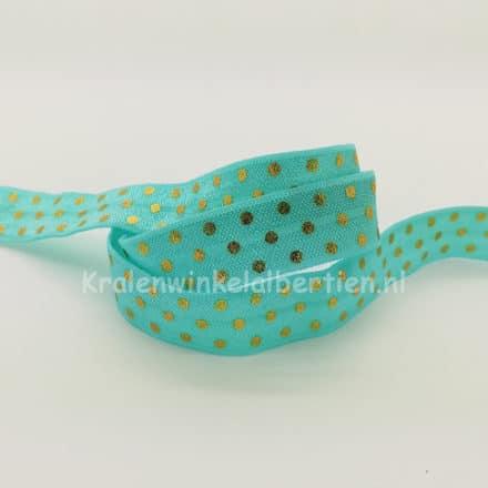 Elastisch vouw lint gouden stippen armbandjes maken trakteren naam turquoise blauw