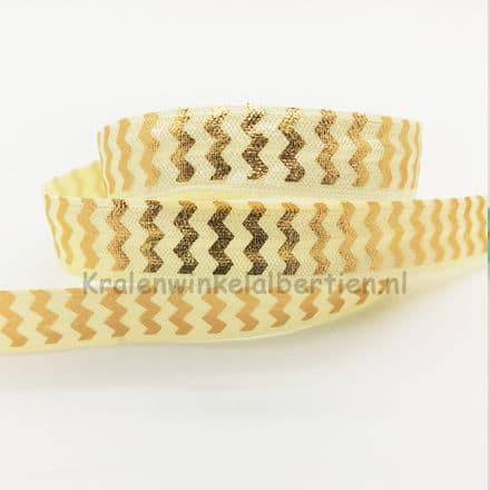 Elastiek koord ibiza style creme gouden chevron print armbandjes maken verkopen