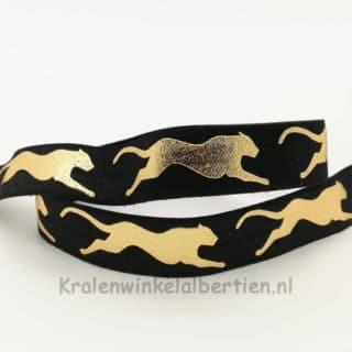 Breed elastiek koord lint zwart goud leopard print luipaarden armbandjes maken tijgerprint panterprint