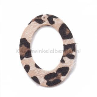 Grote bedel ovaal beige luipaarden print trendy oorbellen zelf maken sieaden