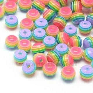 Ronde kraal 8mm resin regenboog gekleurd traktatie jongens meisjes kinderen