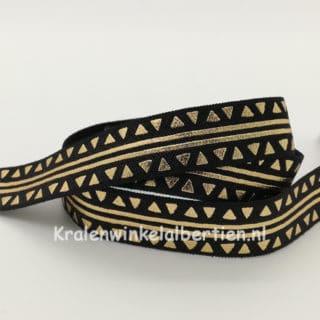 Elastisch koord armbanden maken ibiza haarband zwart goud driehoekjes strepen 1.5cm