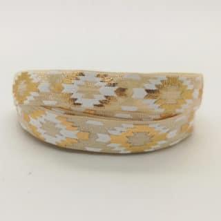 Beige wit met goud aztec print elastisch lint koord 1.5cm
