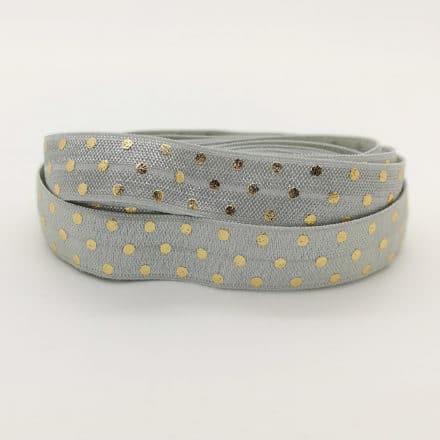 Grijs elastisch lint met gouden stippen 1.5cm breed sieraden maken