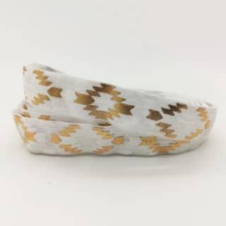 Aztec print elastiek lint koord 1.5cm breed elastische armbandjes zelf maken goud wit