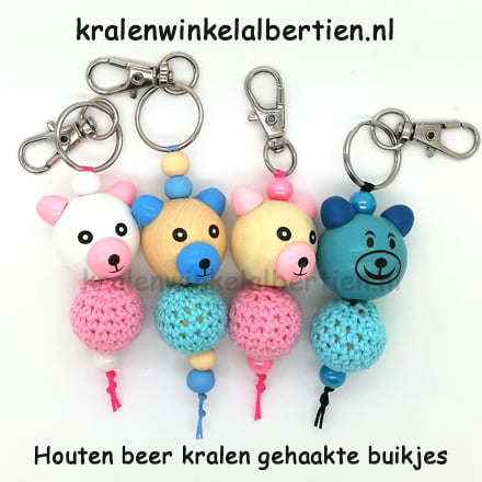 Roze en blauw beertje gehaakte kraal kopen niet kunnen haken sleutelhangers