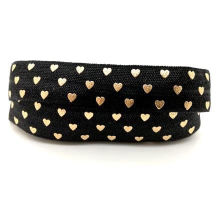 Elastiek lint koord zwart met hartje goud 15mm breed armbandje maken