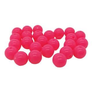 Kunststof kraal fluor roze 8mm rond