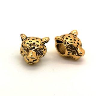 Luipaardkop kralen goud metaal nikkelvrij trendy sieraden maken dierenprint groot gat