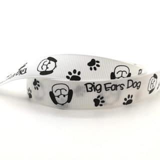 Honden print lint wit zwart grosgrain 16mm breed sieraden maken