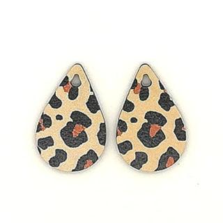 Houten bedeltje panterprint duppel vorm luipaard motief