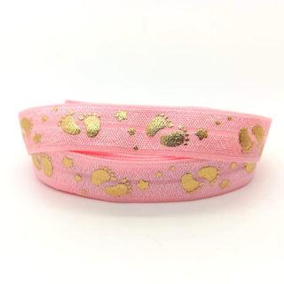 Baby roze elastisch lint 15mm breed babyvoetje ster goud armbandjes zelf maken genderparty babyshower ideeën