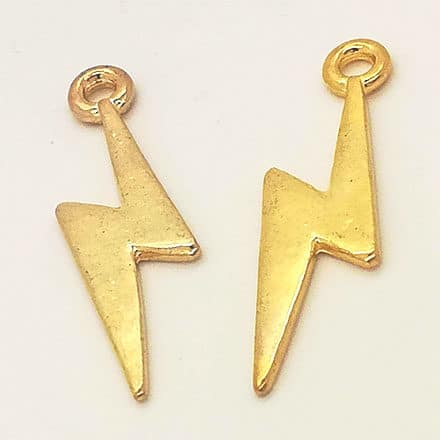 Goudkleurige bedel bliksem nikkelvrij oorbellen DIY zelf maken sieraden