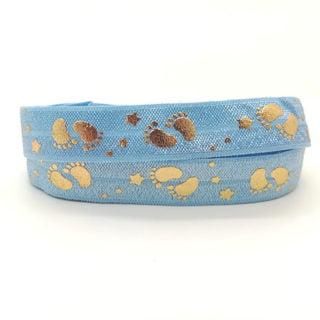 Blauw baby elastiek lint gouden voetjes en sterren babyshower genderpart armbandjes maken