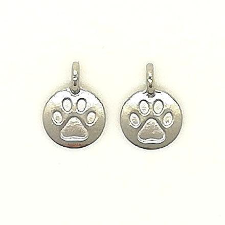 Ronde zilveren bedel met hondenpoot afdruk sieraden zelf maken