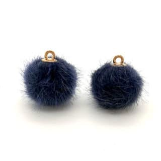 Pomponnetjes bedel navy blue rond goud bolletje DIY sieraden maken oorbellen