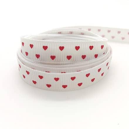 Grosgrain lint wit hartje rood 1cm breed sleutelhangers zelf maken DIY