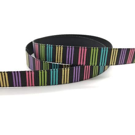 Zwart regenboog lint grosgrain gekleurde strepen sleutelhangers met naam zelf maken