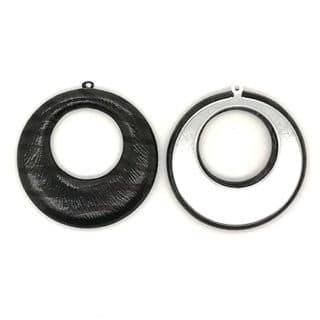 Grote bedels zwart imitatie leer metaal zilver zelf oorbellen en sieraden maken