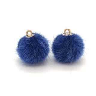 Pomponnetje blauw gouden oogje zelf sieraden maken DIY oorbellen