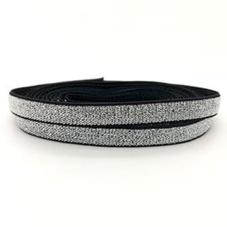 Elastiek koord lint 1cm breed zwart zilver glitter metallic armbandjes maken kerst bedeltjes initialen