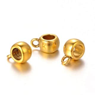 Goudkleurige bail kralen hangers met oogje rond nikkelvrij