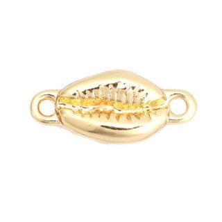 Goudkleurige tussenzetter kauri schelpjes armband zelf maken macramé