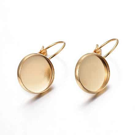 Gouden oorbelletjes stainle tray 12mmss steel cabochons setting